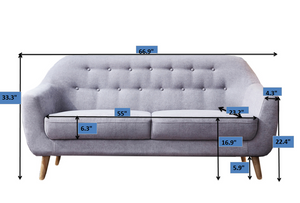 "Contemporary Modern Sofa, Fabric, 67""W, Light Gray"