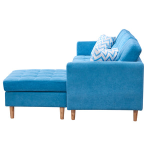 "Mid-Century Modern Chaise Sectional Fabric Sofa Couch, 83""W ,Blue"