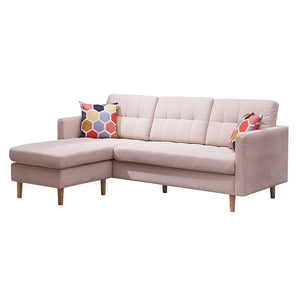 "Mid-Century Modern Chaise Sectional Fabric Sofa Couch, 83""W , Beige"
