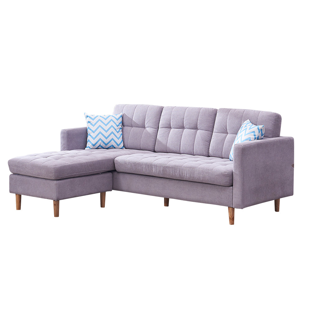 Mid-Century Modern Chaise Sectional Fabric Sofa Couch, 83