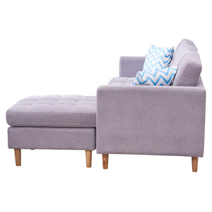 "Mid-Century Modern Chaise Sectional Fabric Sofa Couch, 83""W, Light Grey"
