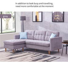 "Load image into Gallery viewer, Mid-Century Modern Chaise Sectional Fabric Sofa Couch, 83""W, Light Grey"
