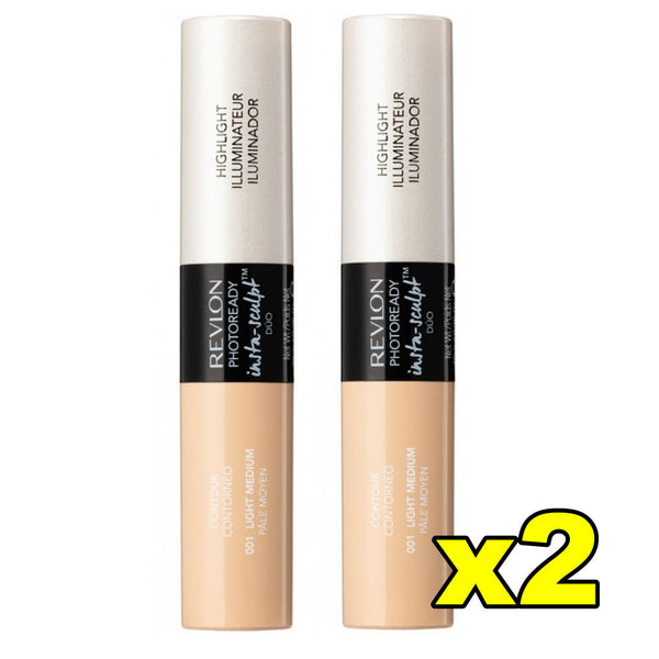 2x Revlon PhotoReady Insta Sculpt Duo Contour Highlighter - 001 Light Medium