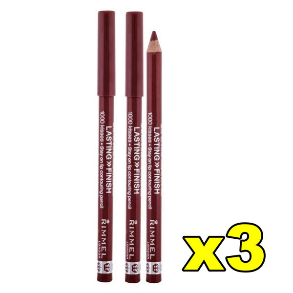3x Rimmel Lasting Finish 1000 Kisses Lip Liner Contouring Pencil - 063 Black Tulip