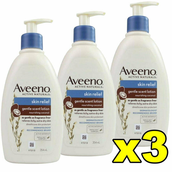 3x Aveeno Skin Relief Gentle Scent Body Lotion Nourishing Coconut 354mL