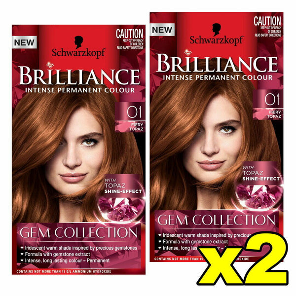 2x Schwarzkopf Brilliance Permanent Hair Colour 01 Fiery Topaz