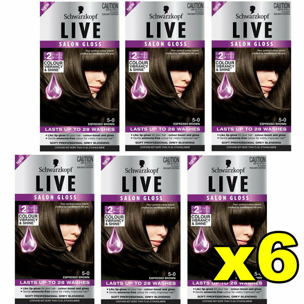 6x Schwarzkopf Live Salon Gloss Hair Colour 5-0 Espresso Brown