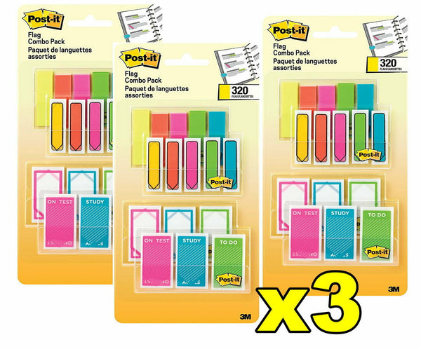 3x Post-it 3M Flag Combo Pack 320 Flags Yellow Orange Pink Green & Blue