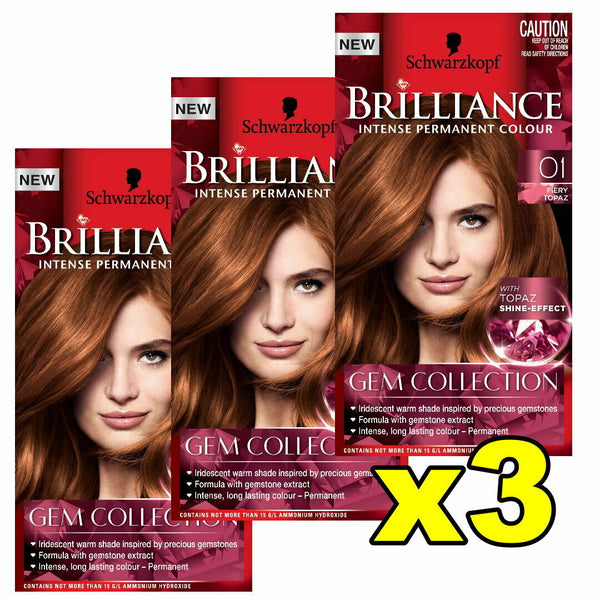 3x Schwarzkopf Brilliance Permanent Hair Colour 01 Fiery Topaz