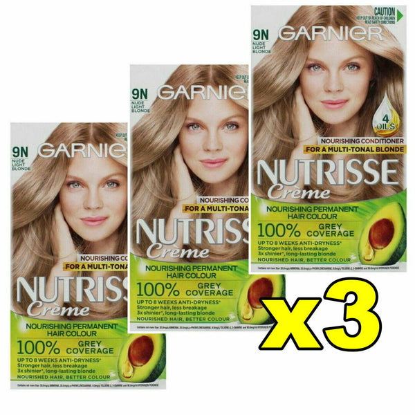3x Garnier Nutrisse Creme Permanent Hair Colour 9N Nude Light Blonde