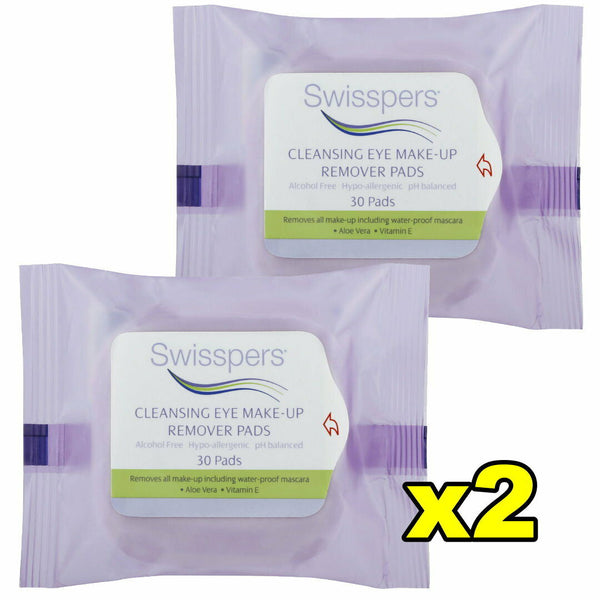 2x Swisspers Cleansing Eye Make Up Remover 30 Pads per pack