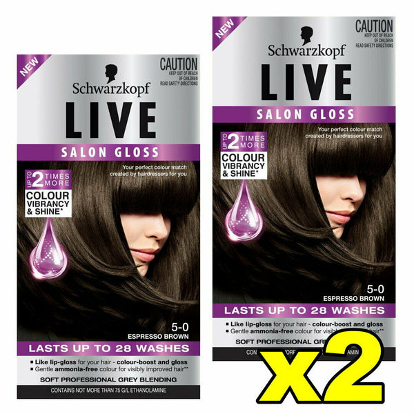2x Schwarzkopf Live Salon Gloss Hair Colour 5-0 Espresso Brown