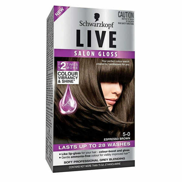 Schwarzkopf Live Salon Gloss Hair Colour 5-0 Espresso Brown