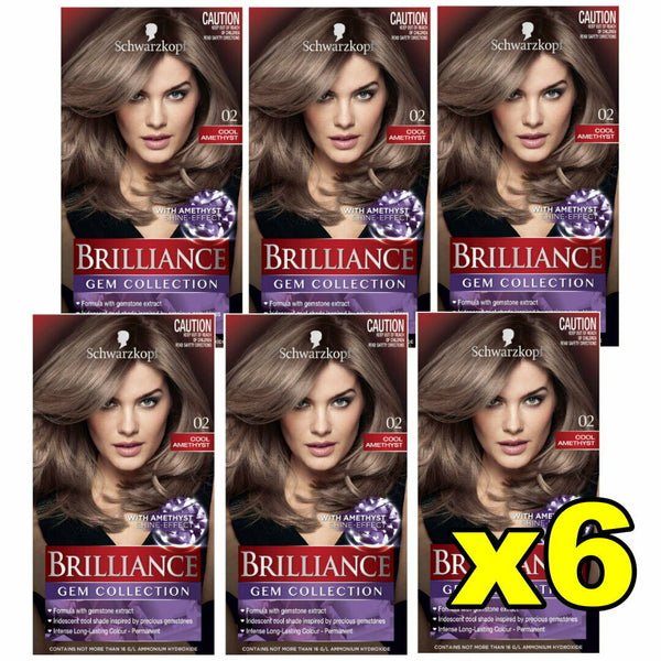 6x Schwarzkopf Brilliance Permanent Hair Colour 02 Cool Amethyst