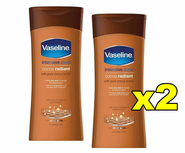 2x Vaseline Intensive Care Lotion Cocoa Radiant Cocoa Butter 400mL