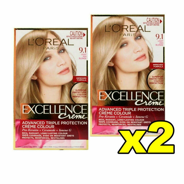 2x LOreal Excellence Creme Hair Colour 9.1 Light Ash Blonde
