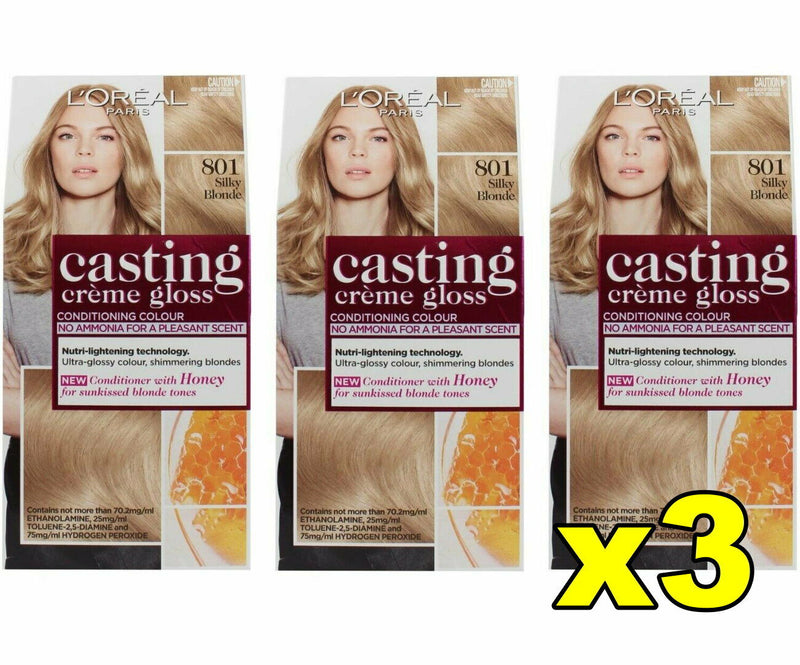 3x LOreal Casting Creme Gloss Conditioning Colour - 801 Siky Blonde, Hair Colour