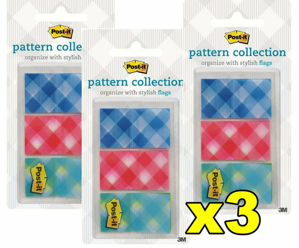 3x Post-it 3M Flags Pattern Collection 23.8 mm x 43.2mm