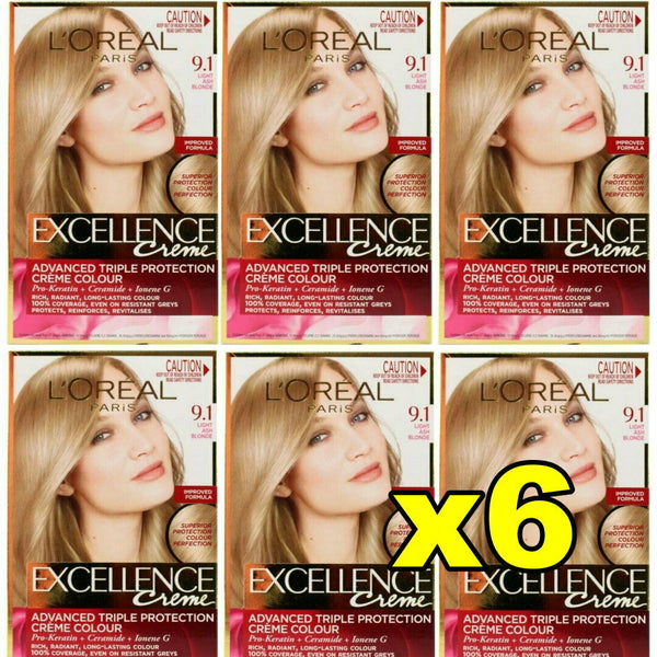 6x LOreal Excellence Creme Hair Colour 9.1 Light Ash Blonde