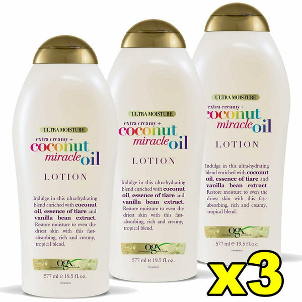 3x OGX Extra Creamy Coconut Miracle Oil Body Lotion 577mL