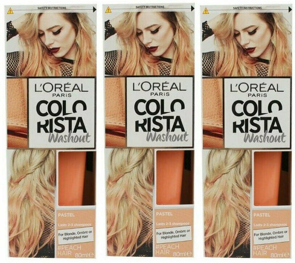 3 x LOreal Colorista Washout Hair Colour 80ml PEACH HAIR