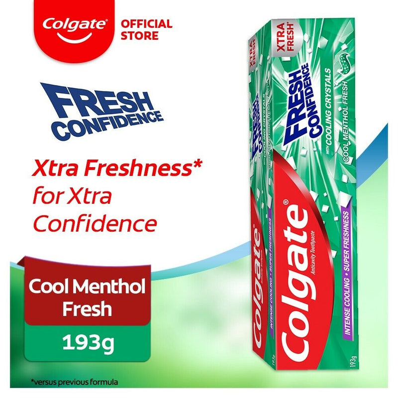 6x Colgate Fresh Confidence Toothpaste 193g with Cooling Crystals XTRA Fresh