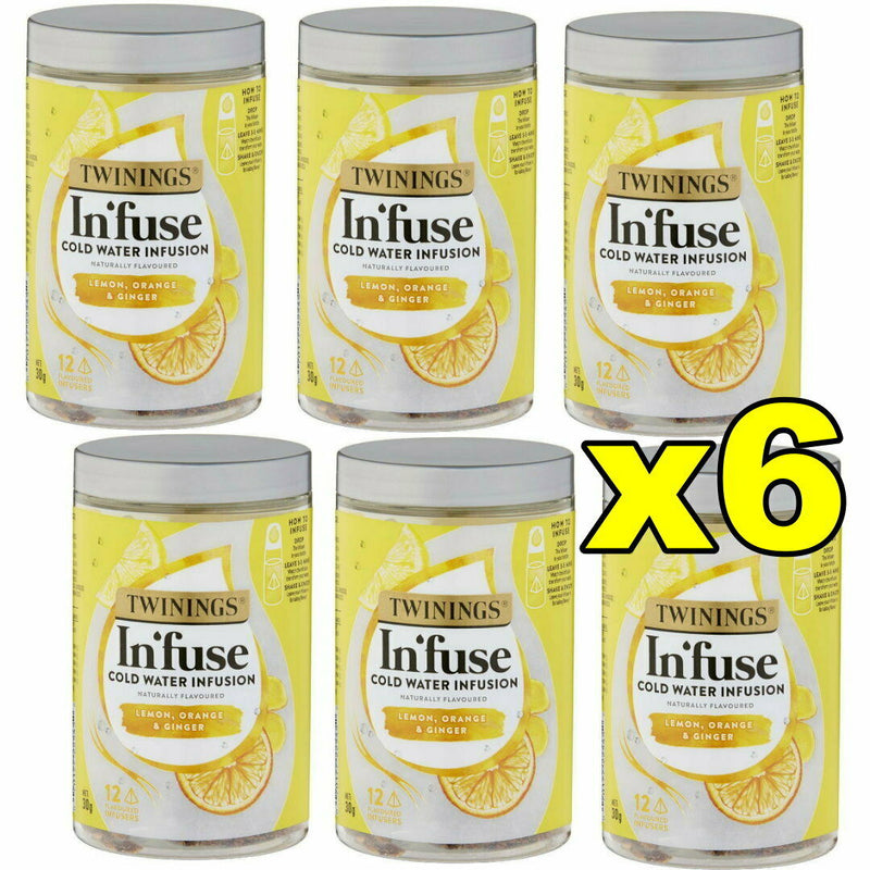 6x Twinings Infuse Cold Water Infusion Lemon Orange & Ginger