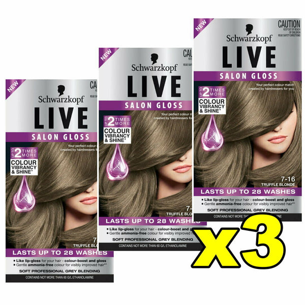 3x Schwarzkopf Live Salon Gloss Hair Colour 7.16 Truffle Blonde