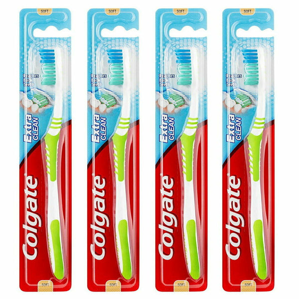 4x COLGATE Extra Clean Toothbrush SOFT BRISTLE Reaches Back Teeth