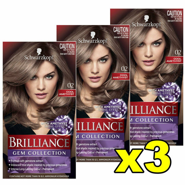 3x Schwarzkopf Brilliance Permanent Hair Colour 02 Cool Amethyst