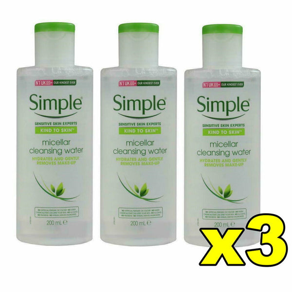 3x Simple Kind To Skin Micellar Cleansing Water 200mL