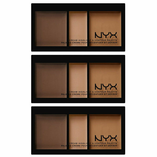 3x NYX Cream Highlight & Contour Palette CHCP03 DEEP