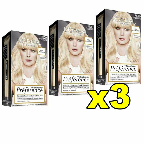 3x LOreal Preference Extreme Lightening Permanent Hair Colour VERY PLATINUM