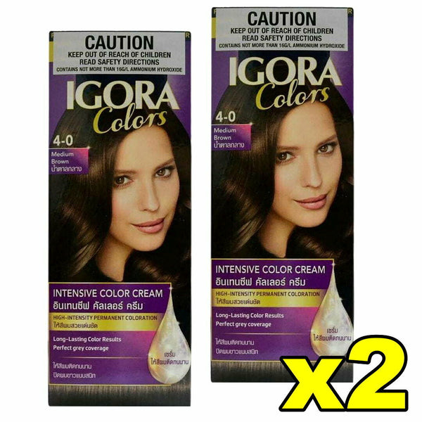 2x Schwarzkopf Igora Intensive Colour Cream Permanent Hair 4-0 Medium Brown