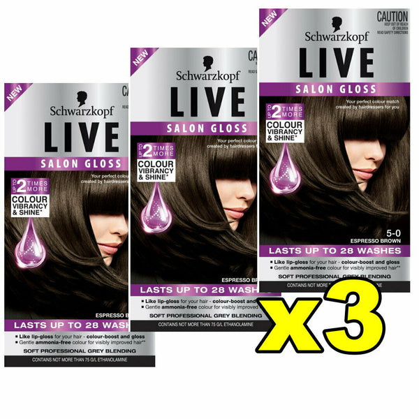 3x Schwarzkopf Live Salon Gloss Hair Colour 5-0 Espresso Brown