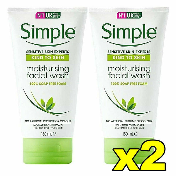 2x Simple Kind To Skin Moisturising Facial Wash 150mL, 100% Soap FREE