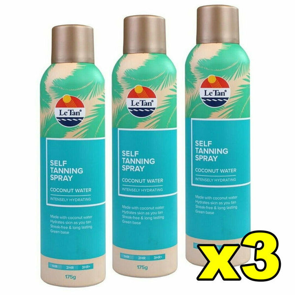 3x Le Tan Self Tanning Spray Coconut Water 175g
