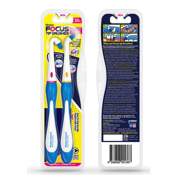 Piksters Focus Tip Brushes Twin Pack - Forward and Reverse Focus ToothBrush