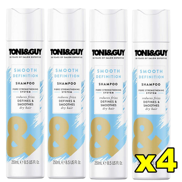 4x Toni & Guy Smooth Definition Shampoo for Dry Hair 250mL