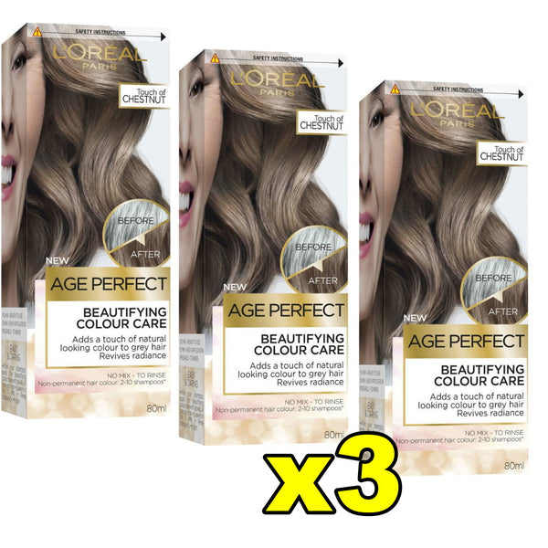 3x LOreal Age Perfect Beautifying Hair Colour Care - Touch Of Chestnut