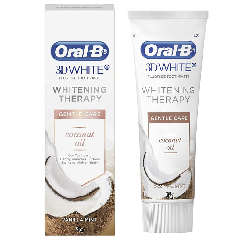 4x Oral-B 3D White Whitening Therapy Coconut Oil Gentle Care Toothpaste 95g Vanilla Mint