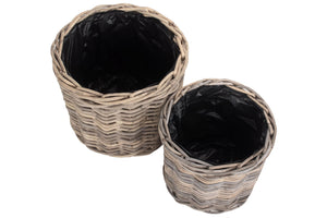 Round Rattan Planter Lined Set of 2
