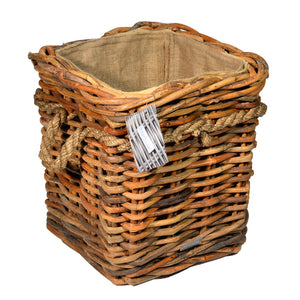Rustic Chunky Rope Handle Log Basket