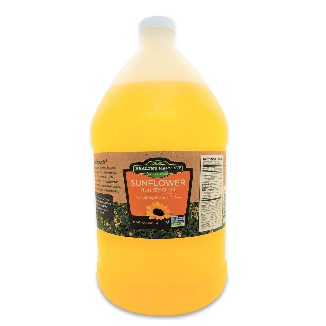 Healthy Harvest Non-GMO Sunflower Oil - Healthy Cooking Oil for Cooking, Baking, Frying & More - Naturally Processed to Retain Natural Antioxidants {One Gallon}
