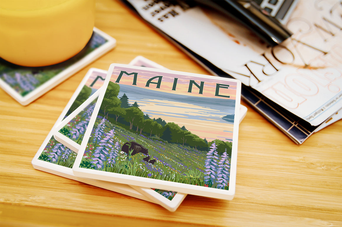 Lantern Press - Maine - Lake And Bear Family Ceramic Coasters