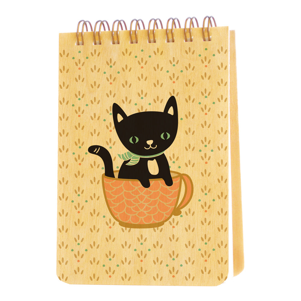 Night Owl Paper Goods - Cuppa Kitty Wood Mini Notepad