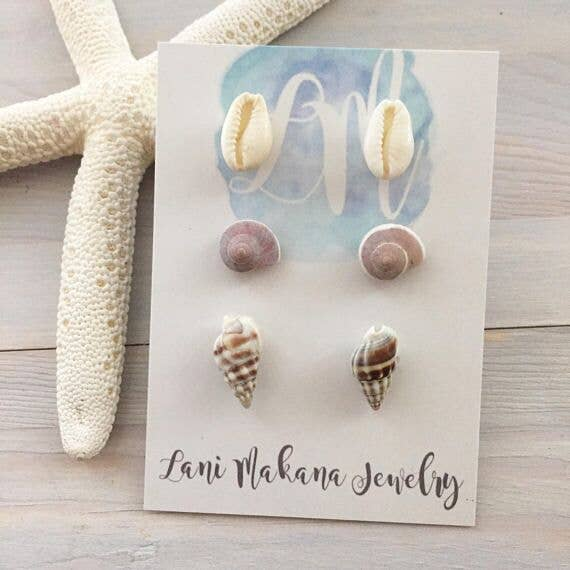 Lani Makana - Seashell Stud Earring Set