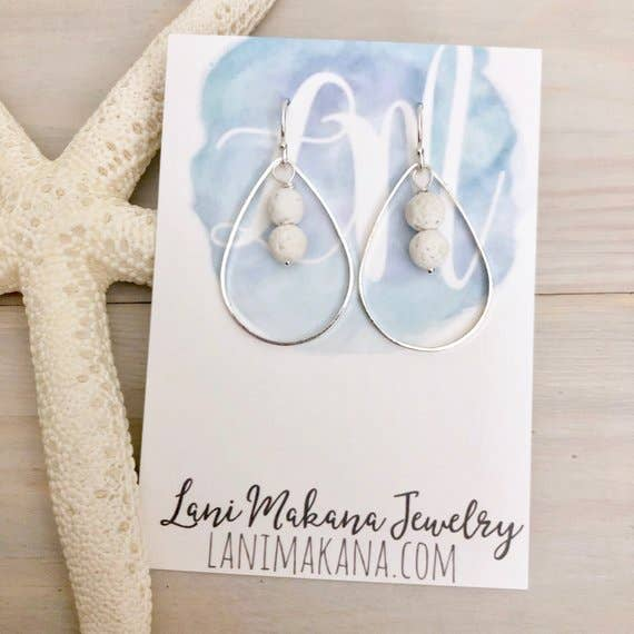 Lani Makana - Double Lava Stone Hoop Earrings