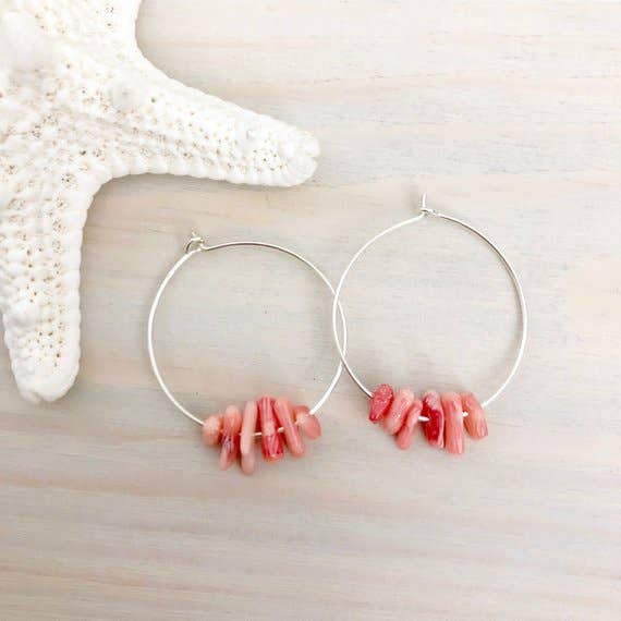 Lani Makana - Beach Coral Hoop Earrings