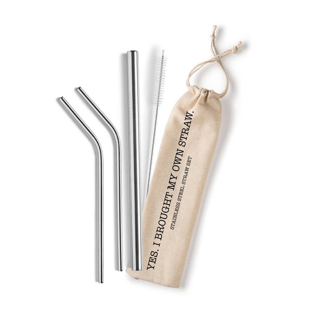 Shell Creek Sellers Reusable Straws - Yes - I brought My Own Straw Reusable Stainless Steel Set